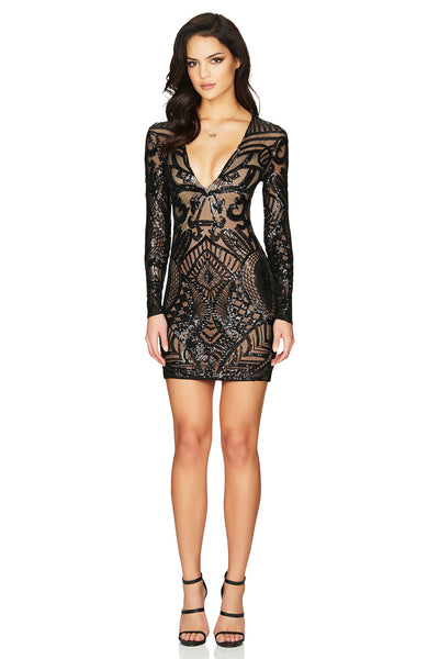Nookie Mon Cherie Sequin Mini Dress - Black - SHOPJAUS - JAUS