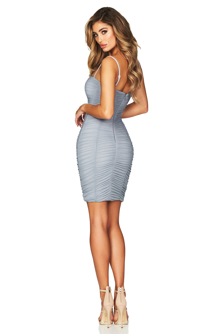 Nookie Mystic Mesh Mini Dress - Dusty Blue - SHOPJAUS - JAUS