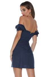 Maddie Lace Up Dress - Navy - SHOPJAUS - JAUS