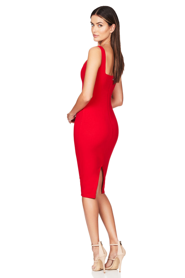 Nookie Neptune Midi Dress - Red - SHOPJAUS - JAUS