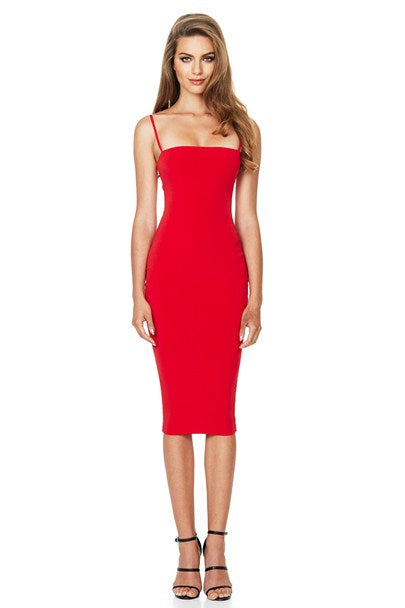 Nookie Charlize Strap Midi Dress - Cherry - SHOPJAUS - JAUS