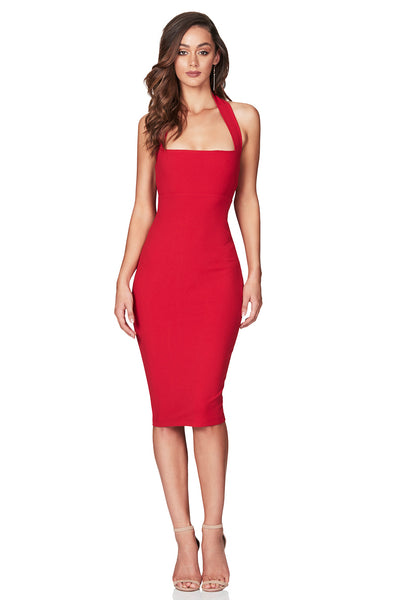 Nookie Boulevard Midi Dress - Red - SHOPJAUS - JAUS