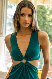 Mercy Cut Out Dress - Emerald Green