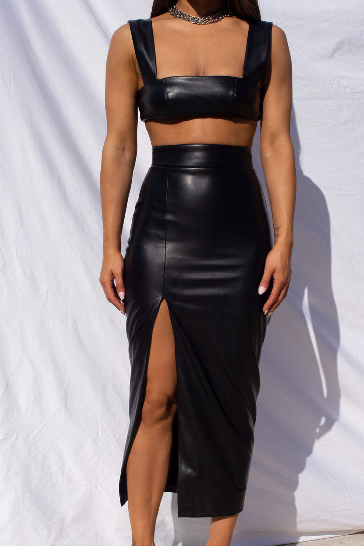Thigh Split Midi Skirt - Black (PREORDER)