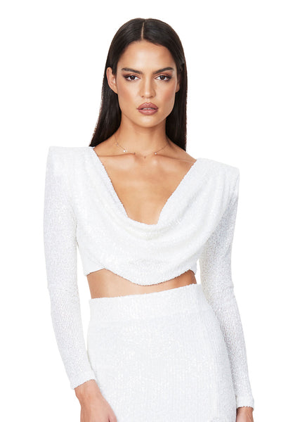 Nookie Pandora Long Sleeve Crop - White