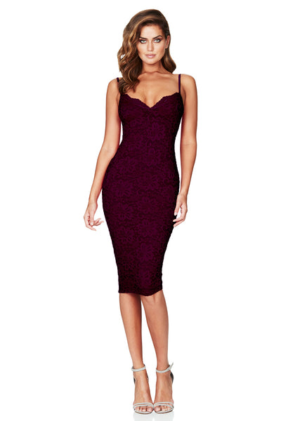 Nookie Paris Lace Midi Dress - Wine