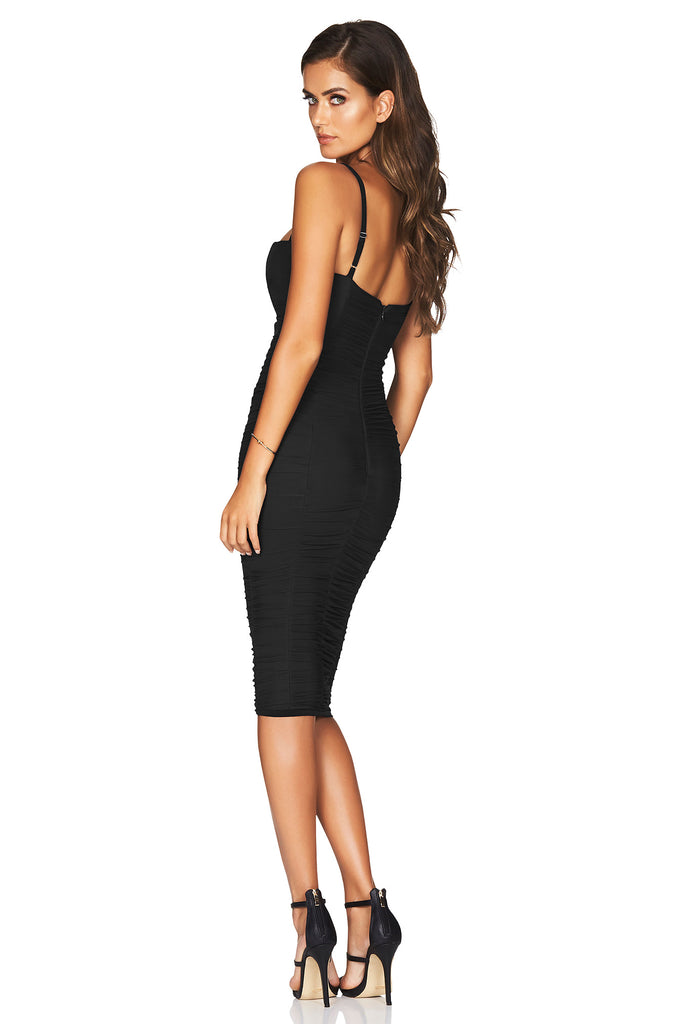 Nookie Romee Ruched Midi Dress - Black - SHOPJAUS - JAUS