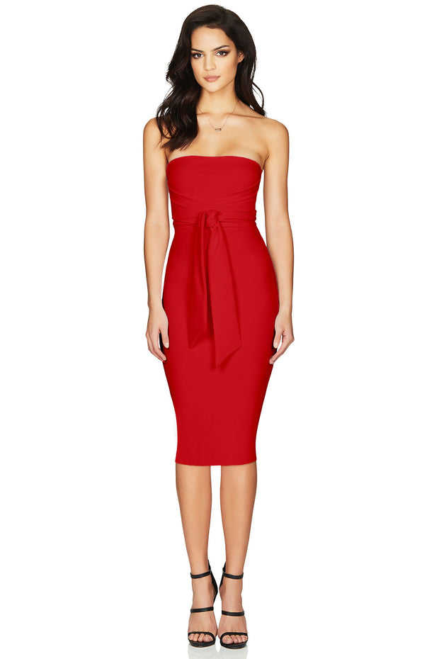 Nookie Royal Strapless Midi Dress - Red - SHOPJAUS - JAUS