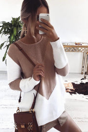 Varsity Knit Sweater - Tan/White - SHOPJAUS - JAUS