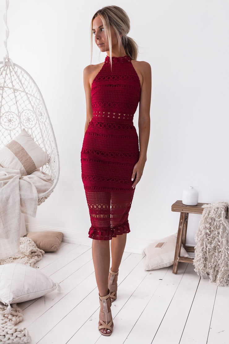 Rivers Midi Dress - Red - SHOPJAUS - JAUS