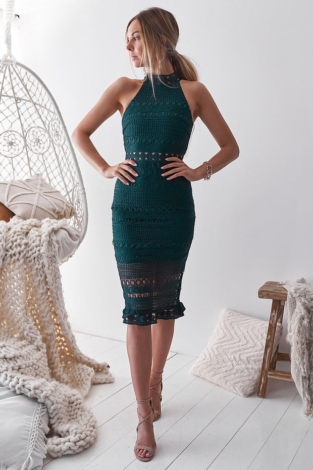 Rivers Midi Dress - Emerald Green - SHOPJAUS - JAUS