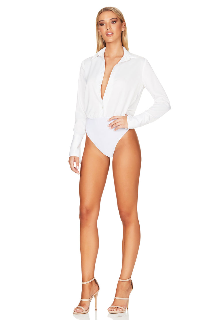 Nookie Sasha Satin Bodysuit - White