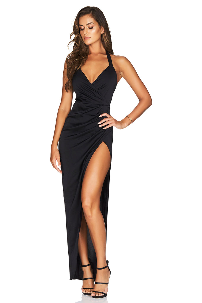 Nookie Saskia Satin Halter Gown - Black