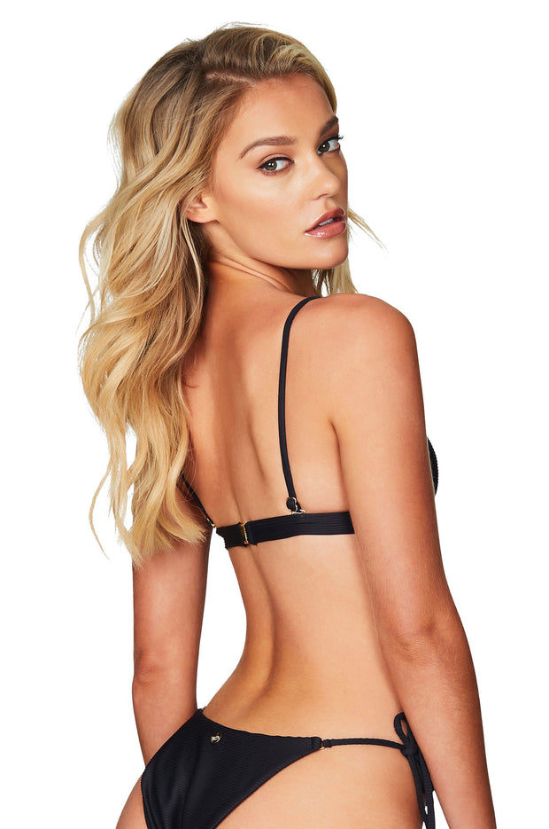 Nookie Savannah Rib Triangle Bikini Top - Black - SHOPJAUS - JAUS
