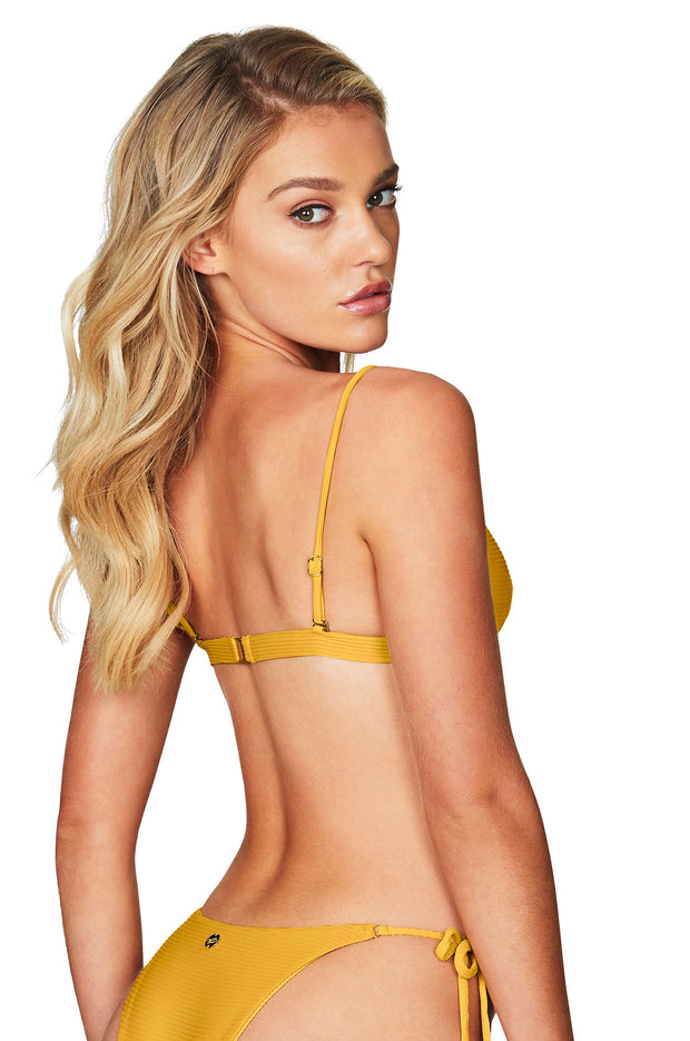 Nookie Savannah Rib Triangle Bikini Top - Mustard - SHOPJAUS - JAUS