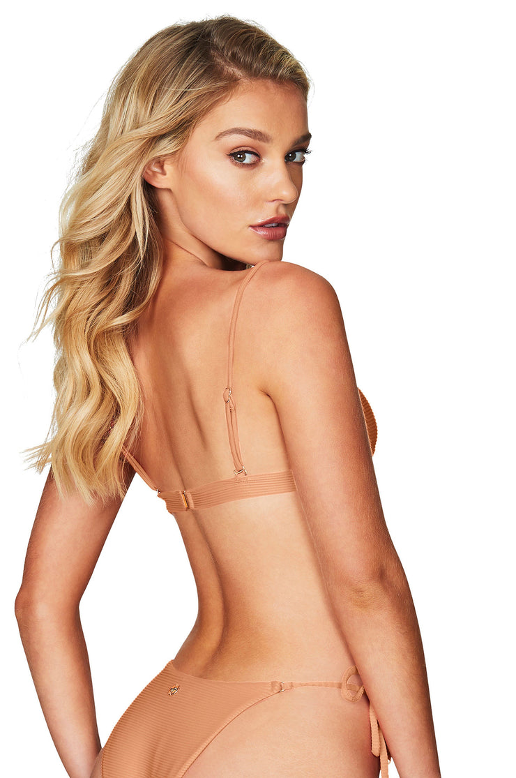 Nookie Savannah Rib Triangle Bikini Top - Nude - SHOPJAUS - JAUS