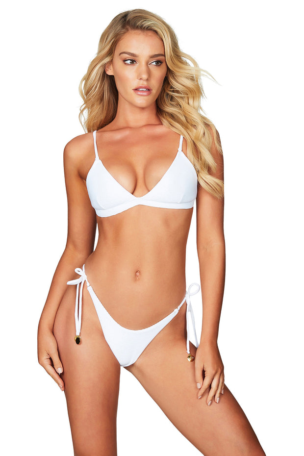 Nookie Savannah Rib Triangle Bikini Top - White - SHOPJAUS - JAUS