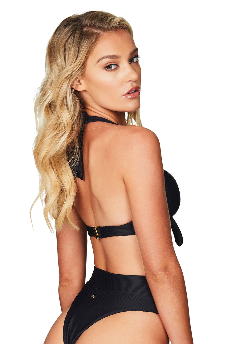 Nookie Savannah Rib Halter Bra - Black - SHOPJAUS - JAUS