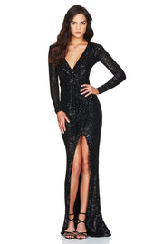 Nookie Selena Long Sleeve Gown - Black - SHOPJAUS - JAUS