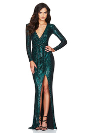 Nookie Selena Long Sleeve Gown - Teal - SHOPJAUS - JAUS