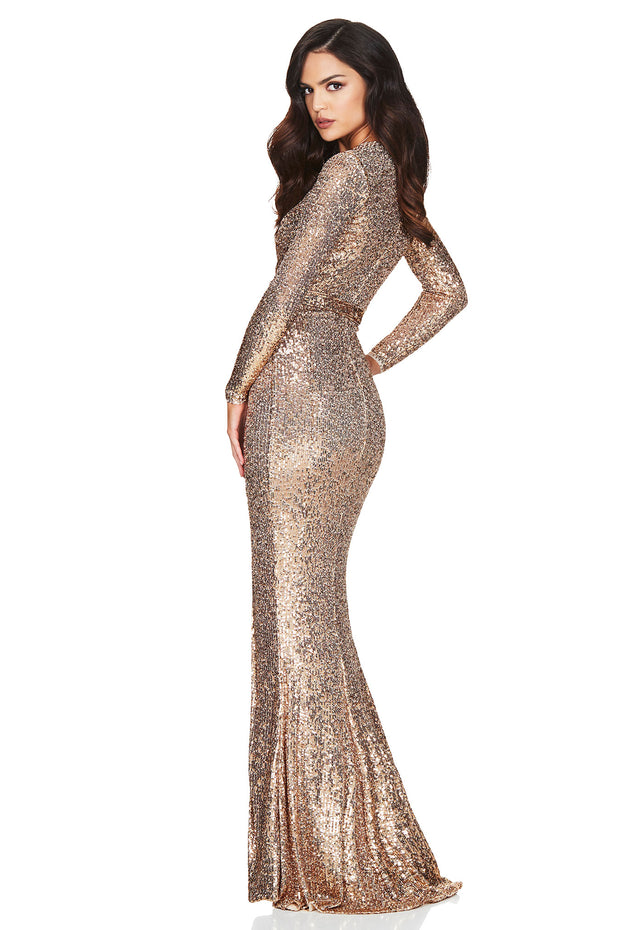 Nookie Selena Long Sleeve Gown - Gold - SHOPJAUS - JAUS