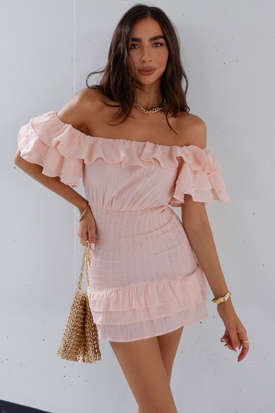 Naya Shirred Dress - Pink