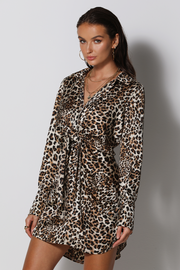 Aja Mini Dress - Leopard - SHOPJAUS - JAUS