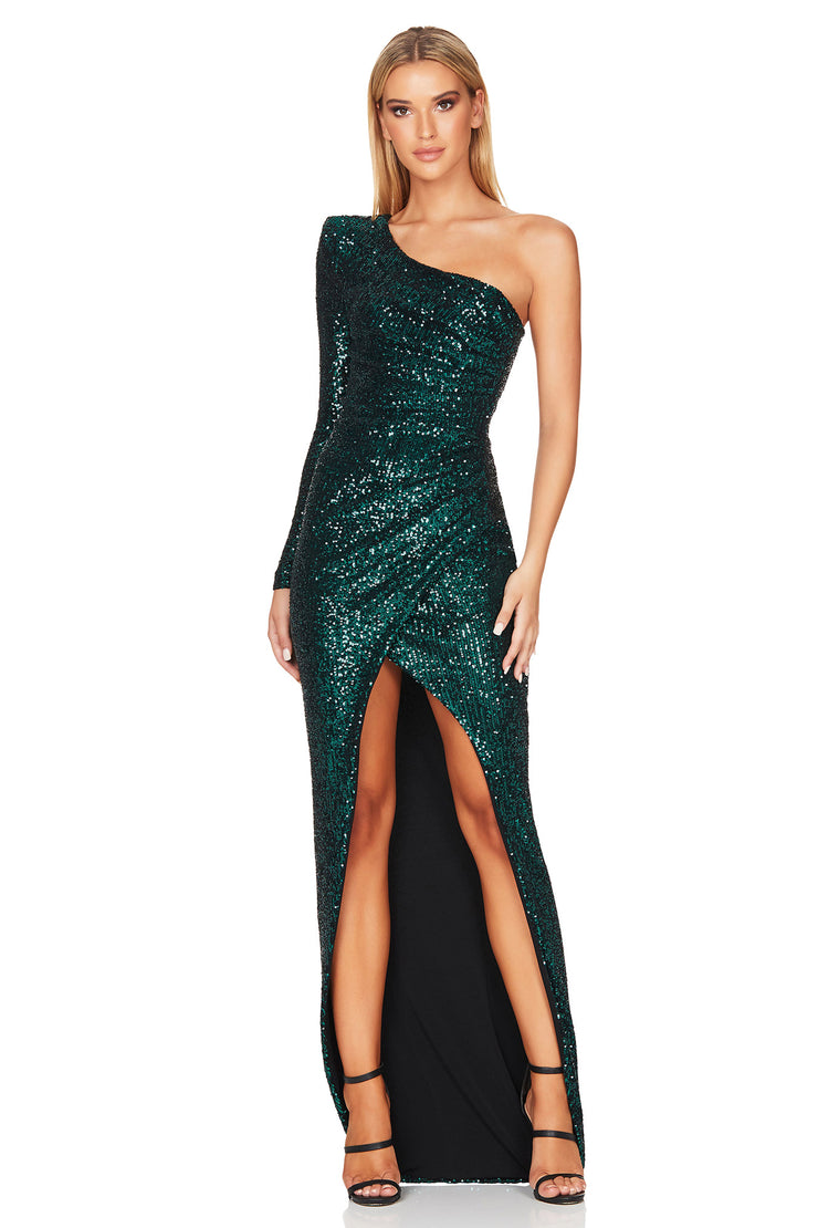 Nookie Sierra Sequin Gown- Emerald Green