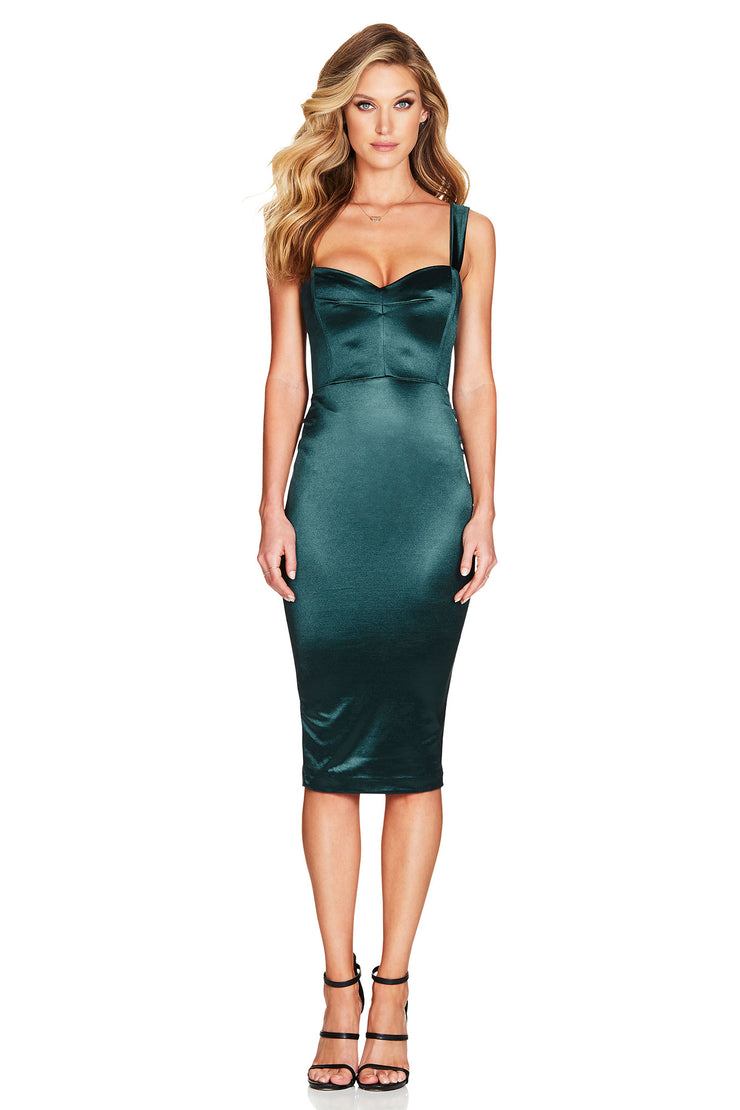 Nookie Slay Midi Dress - Emerald Green