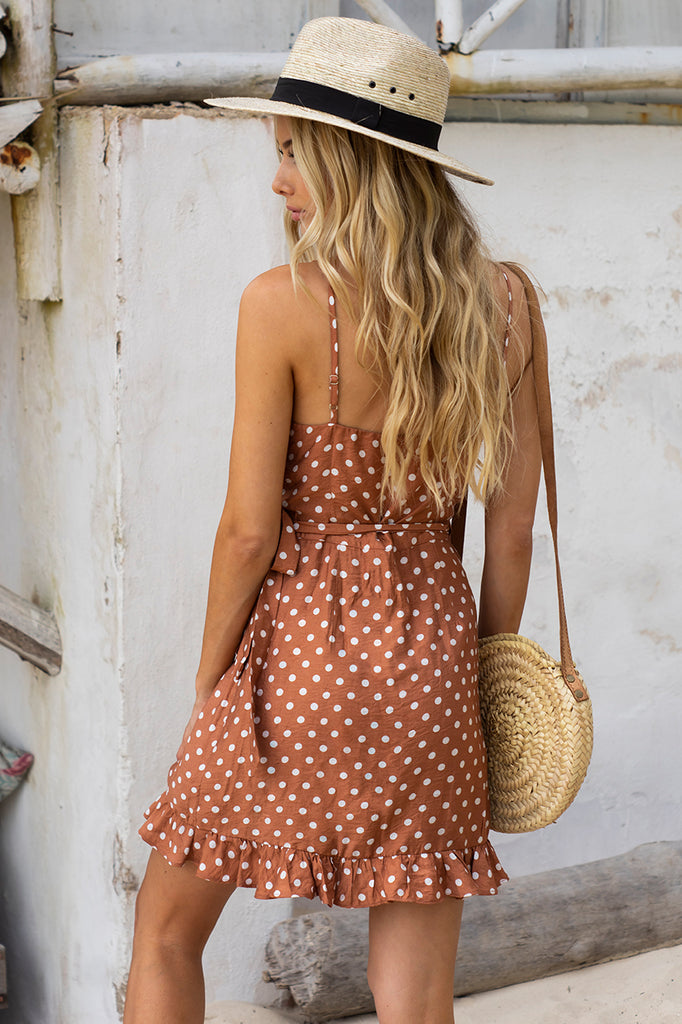 Serena Wrap Dress - Rust Spot
