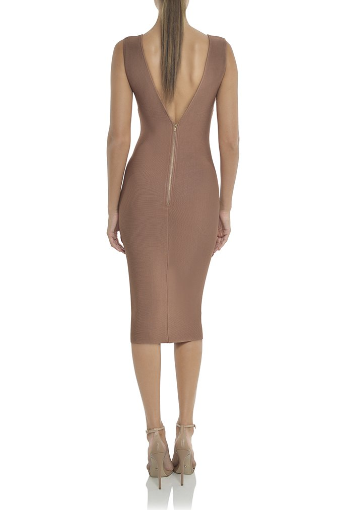 Misha Collection Solange Bandage Dress - Bronze - SHOPJAUS - JAUS