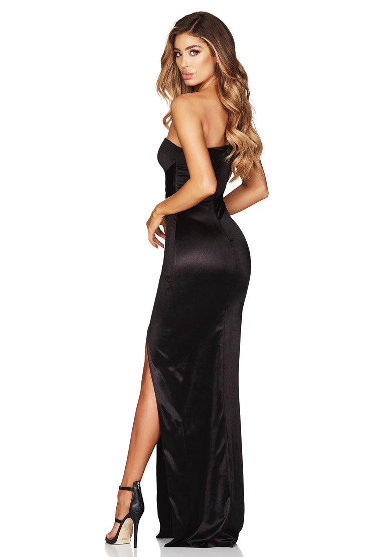 Nookie Tease Satin Gown - Black - SHOPJAUS - JAUS