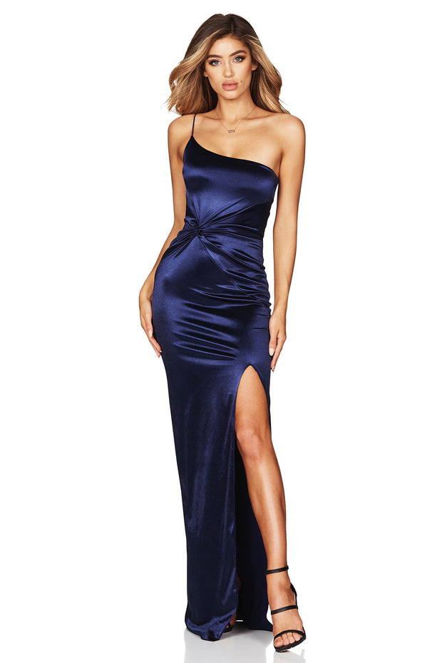 Nookie Tease Satin Gown - Navy - SHOPJAUS - JAUS