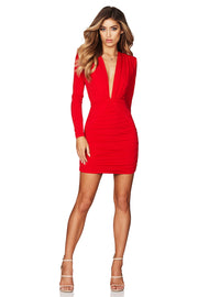 Nookie Temptation Long Sleeve Mini Dress - Red - SHOPJAUS - JAUS