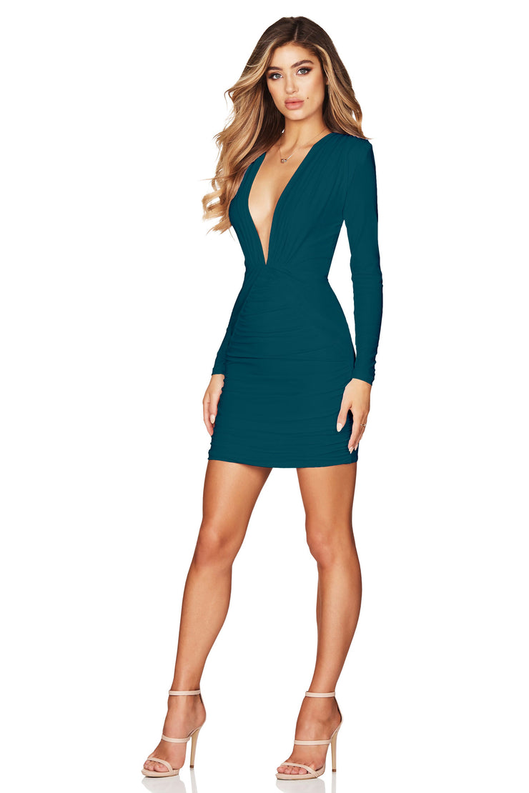 Nookie Temptation Long Sleeve Mini Dress - Teal - SHOPJAUS - JAUS