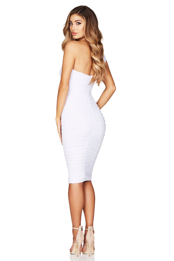 Nookie Temptation One Shoulder Midi Dress - White - SHOPJAUS - JAUS