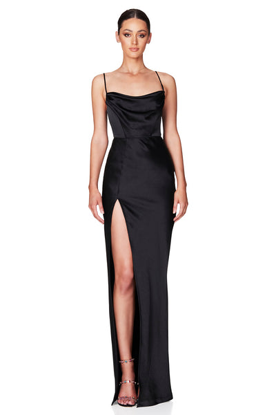 Nookie Dream Draped Gown - Black