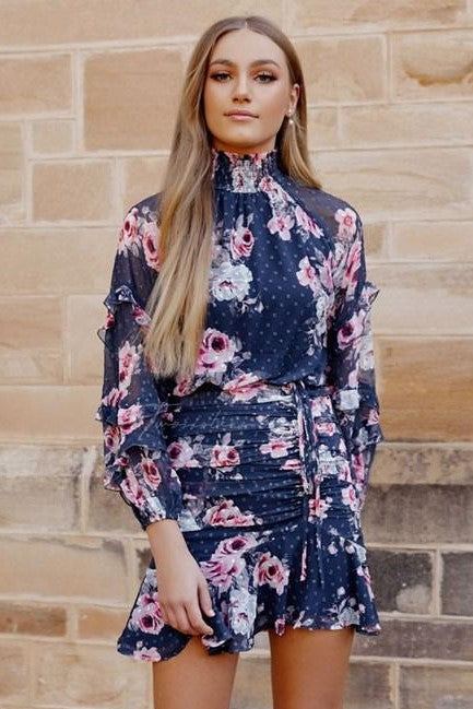 Piper Dress - Navy Floral
