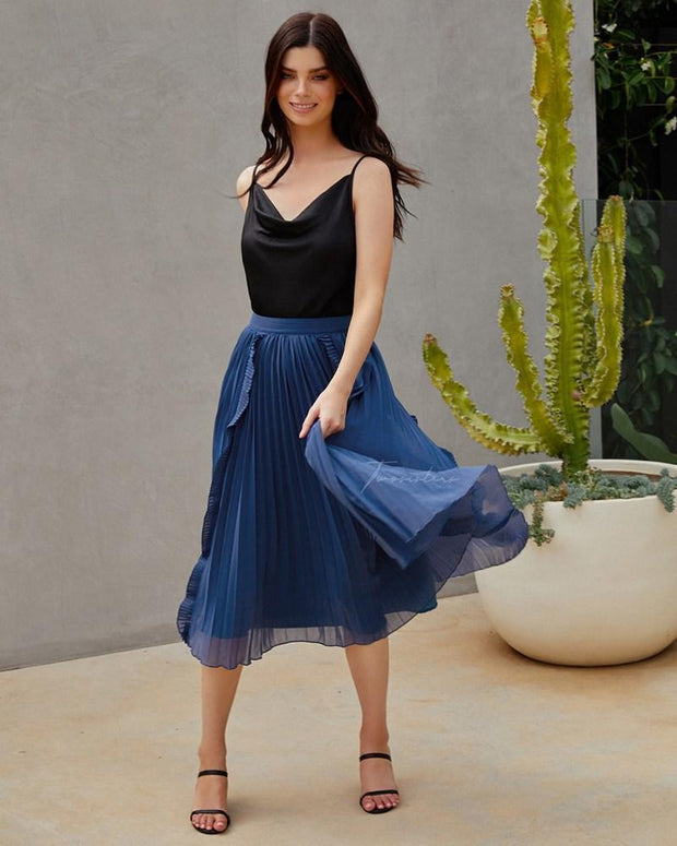 Maia Skirt - Steel Blue