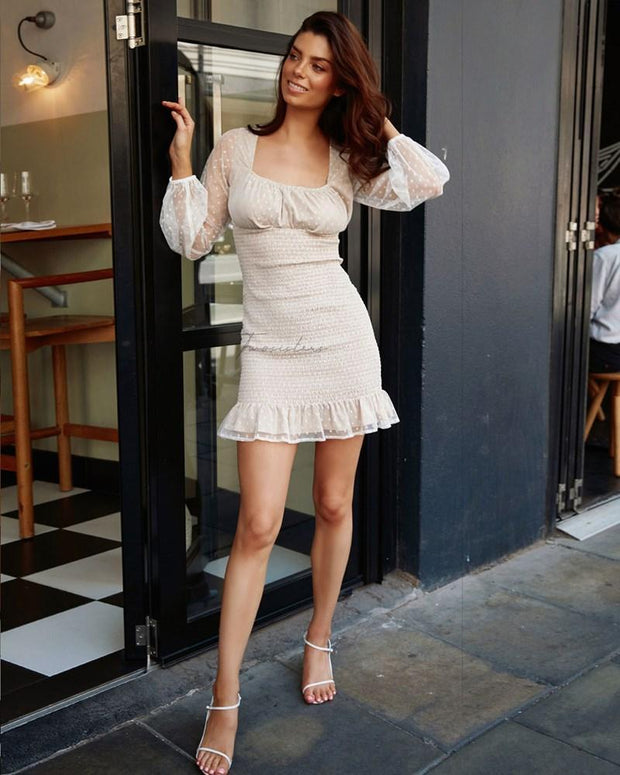 Paris Dress - Cream Spot