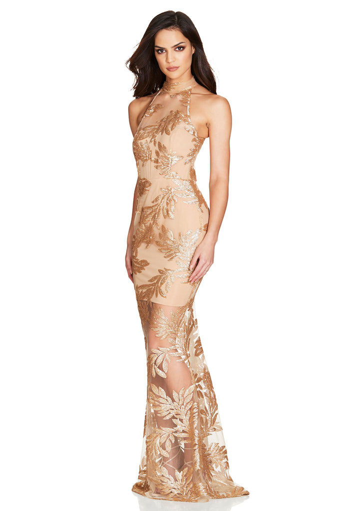 Nookie Vanity Halter Gown - Gold