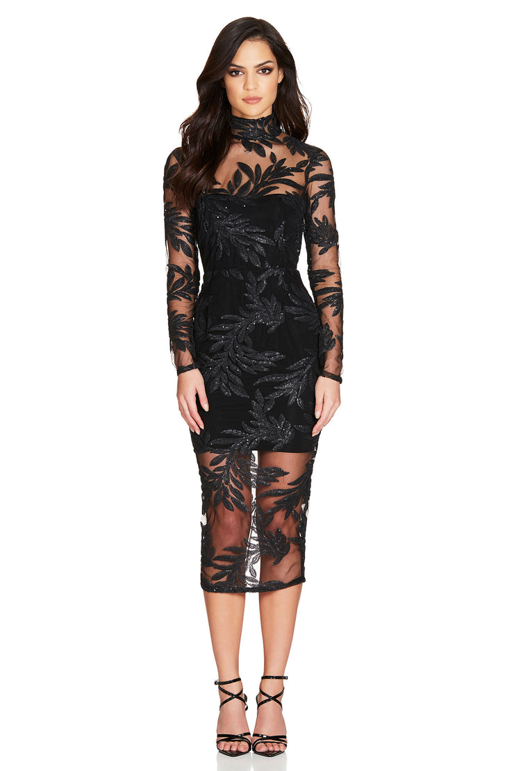 Nookie Vanity Long Sleeve Midi Dress - Black - SHOPJAUS - JAUS