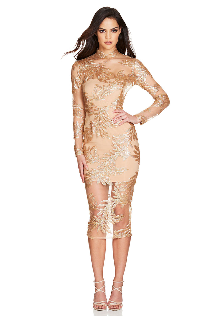 Nookie Vanity Long Sleeve Midi Dress - Gold