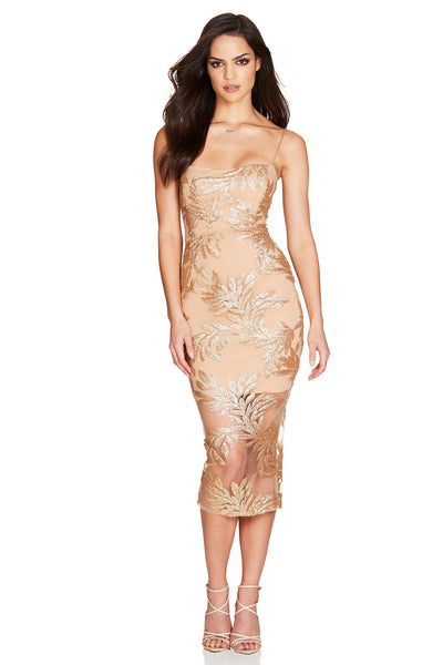 Nookie Vanity Midi Dress - Gold - SHOPJAUS - JAUS