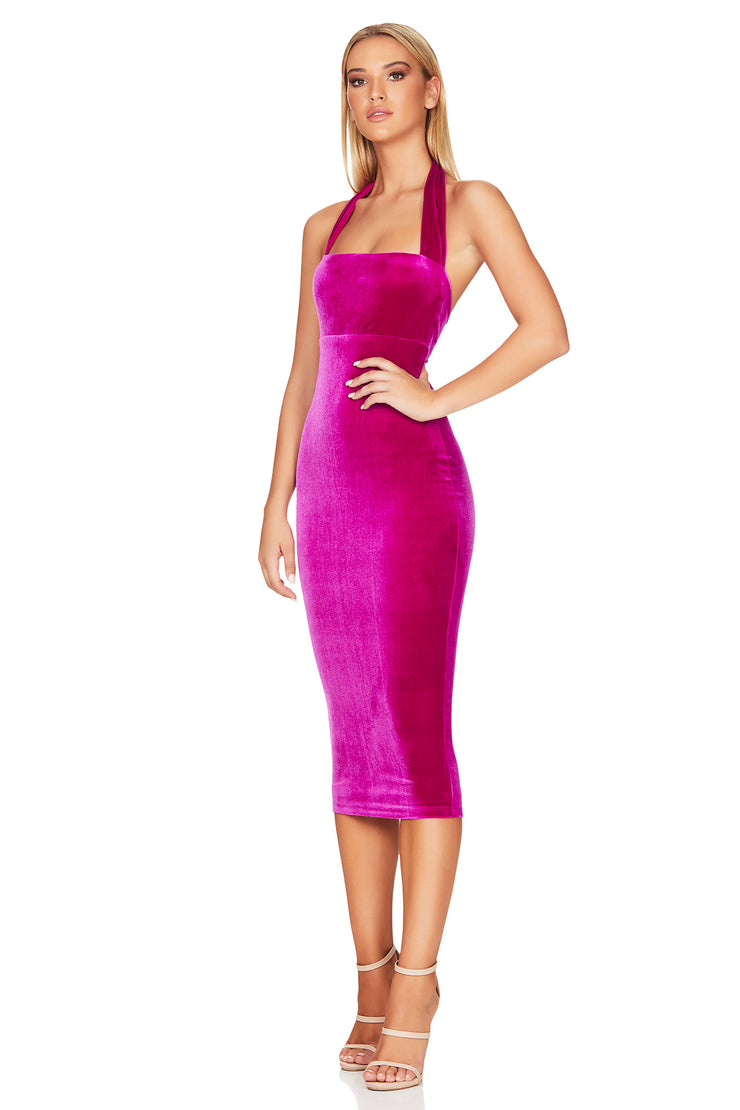 Nookie Vera Velvet Midi Dress - Fuchsia