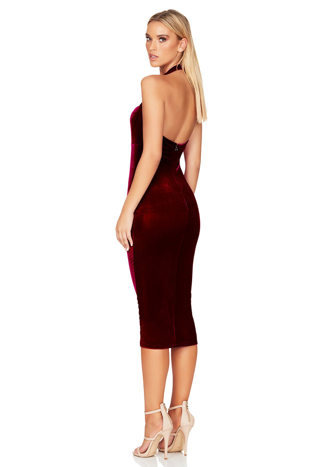 Nookie Vera Velvet Midi Dress - Wine