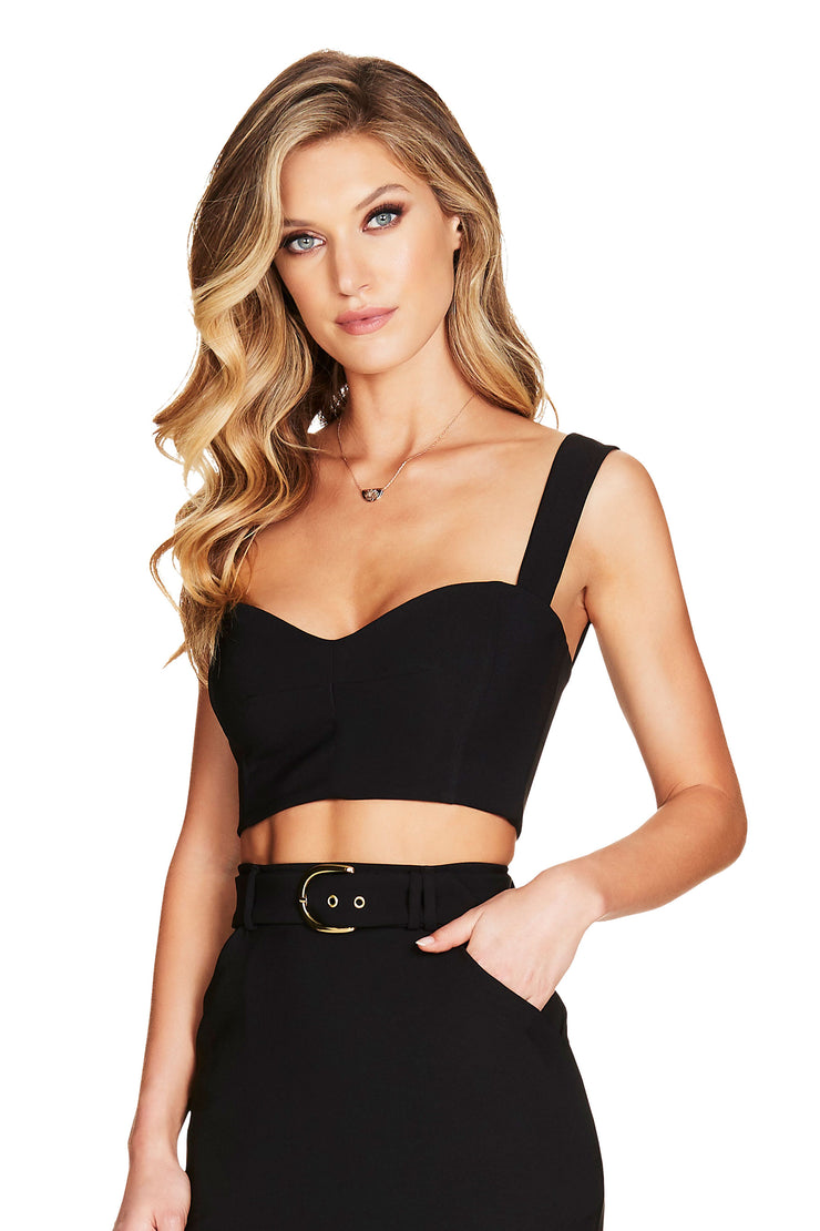 Nookie Wink Crop - Black