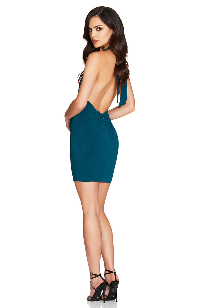 Nookie Illegal Halter Mini Dress - Teal