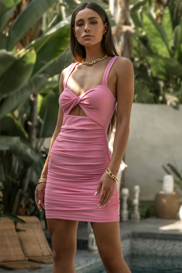 Perla Twist Dress - Pink