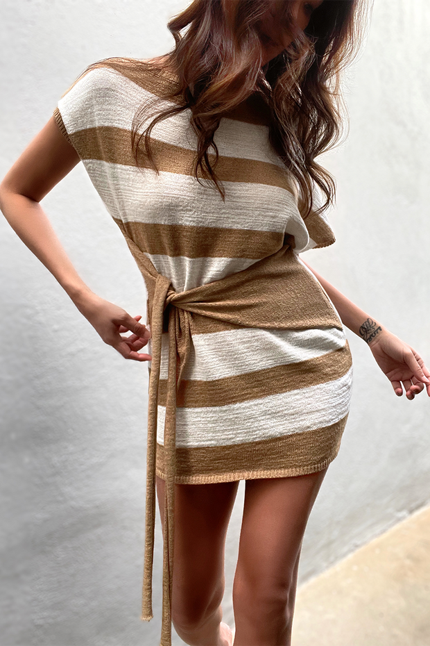 Amara Knit Dress - Tan Stripe
